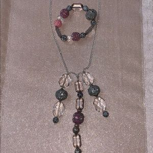Jewelry - Pink and grey/silver necklace and bracelet set.